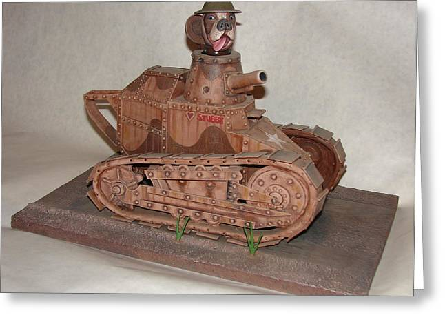 Toy Dog Sculptures Greeting Cards - Stubbys Tank Greeting Card by Stuart Swartz