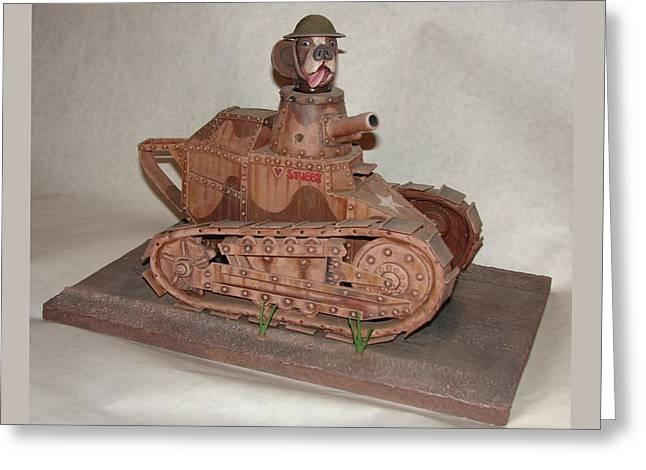 Dog Sculptures Greeting Cards - Stubbys Tank Greeting Card by Stuart Swartz