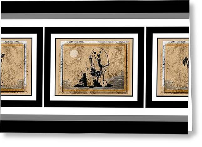 Dogs Digital Art Greeting Cards - Stucco Three Dogs Greeting Card by Philip w Maier