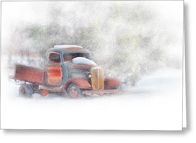 Texture Snow Scapes Greeting Cards - Stuck in Snow Greeting Card by Mary Timman