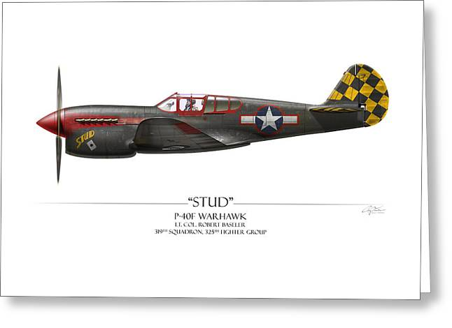 Stud P-40 Warhawk - White Background Greeting Card by Craig Tinder