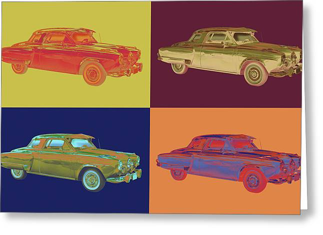 Classic Automobile Art Greeting Cards - Studebaker Champian Antique Car Pop Art Greeting Card by Keith Webber Jr