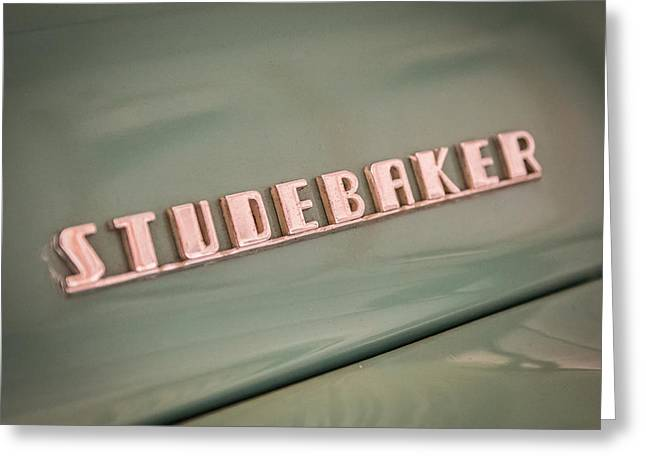Chrome Emblem Greeting Cards - Studebaker Emblem Greeting Card by Paul Freidlund
