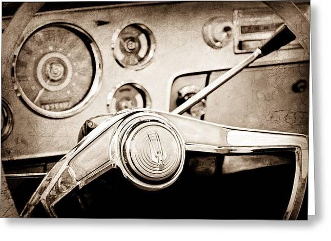 Studebaker Greeting Cards - Studebaker Steering Wheel Emblem Greeting Card by Jill Reger