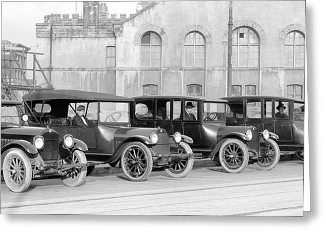Taxi Stands Greeting Cards - Studebaker Taxi Cabs 1919 Greeting Card by Daniel Hagerman