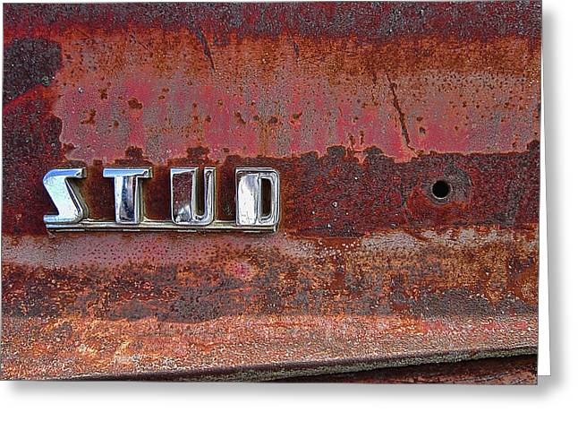 Side Panel Greeting Cards - STUDEBAKER TRUCK SIDE PANEL EMBLEM  1940s Greeting Card by Daniel Hagerman