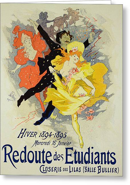 Belles Drawings Greeting Cards - Student Gala Evening Poster Greeting Card by Jules Cheret