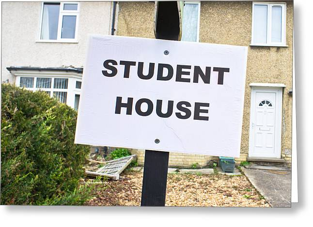 Rent House Greeting Cards - Student house Greeting Card by Tom Gowanlock