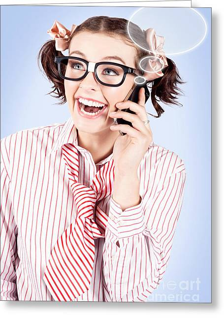 Verbal Greeting Cards - Student on a mobile call with speech bubbles Greeting Card by Ryan Jorgensen