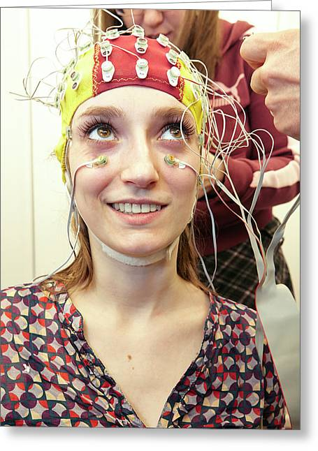 Student Wired For A Eeg Experiment Greeting Card by Ps Unlimited/oxford University Images