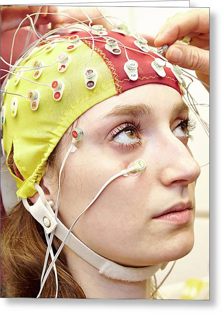 Student Wired For An Eeg Experiment Greeting Card by Ps Unlimited/oxford University Images