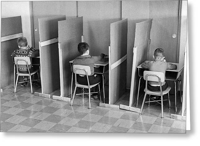 Students In Cubicles Greeting Card by Underwood Archives