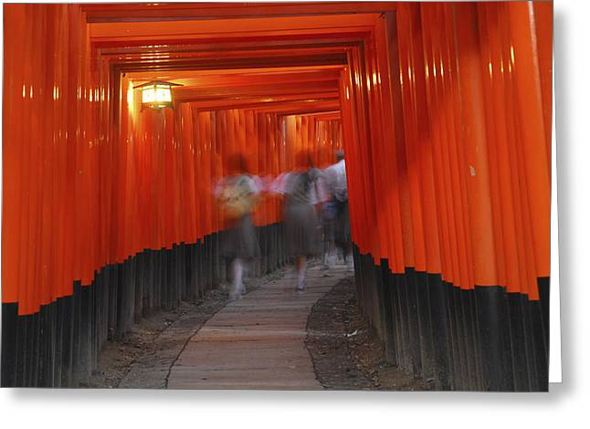 Torii Greeting Cards - Students Under Torii Gates At Fushimi Greeting Card by Tips Images