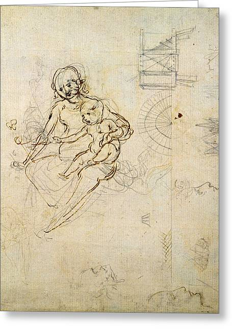 Virgin Mary Photographs Greeting Cards - Studies For A Virgin And Child And Of Heads In Profile And Machines, C.1478-80 Pencil And Ink Greeting Card by Leonardo da Vinci