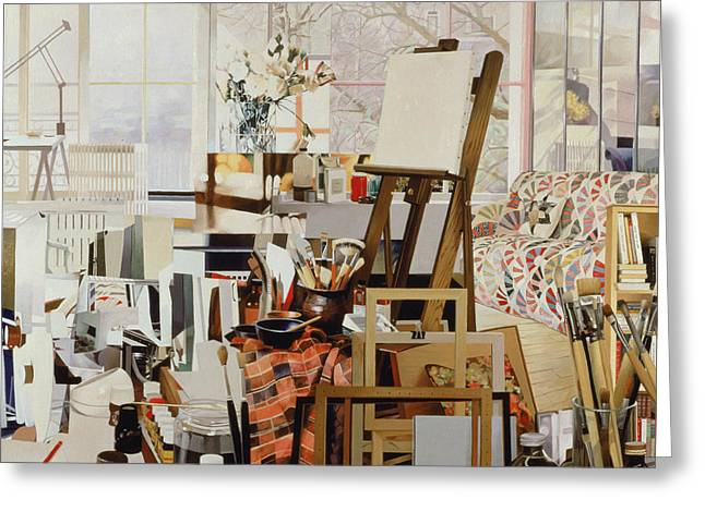 Atelier Greeting Cards - Studio, 1986 Oil On Canvas Greeting Card by Jeremy Annett