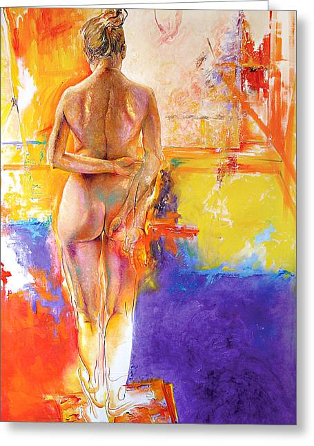 Expressionist Girl Greeting Cards - Studio Greeting Card by Karina Llergo Salto