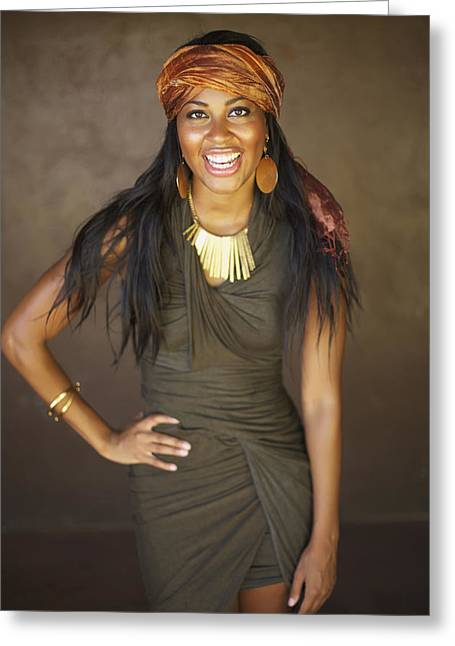 Wrap Dress Greeting Cards - Studio Portrait of African American Model Greeting Card by Kicka Witte