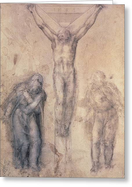 Michelangelo Greeting Cards - Study for a Crucifixion Greeting Card by Michelangelo Buonarroti
