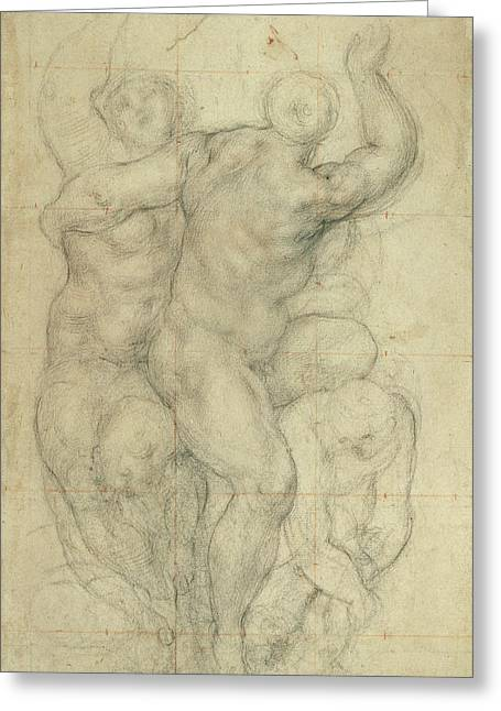 Nudes Drawings Greeting Cards - Study for a Group of Nudes Greeting Card by Jacopo Pontormo