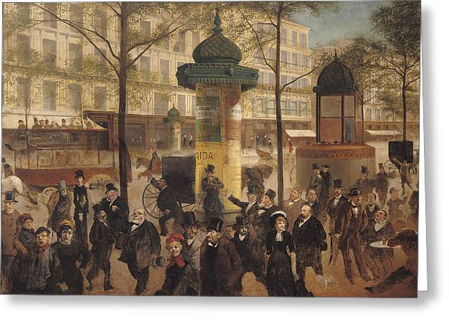 Hoarding Greeting Cards - Study For A Panorama Of The Boulevard De Montmartre, 1877 Oil On Canvas Greeting Card by Andre Gill