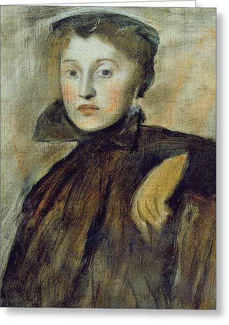 Collar Greeting Cards - Study for a Portrait of a Lady Greeting Card by Edgar Degas