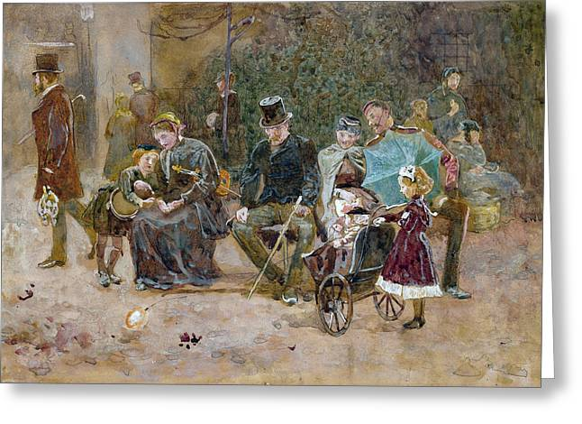 Park Benches Paintings Greeting Cards - Study for a Seat in St James s Park Greeting Card by George John Pinwell