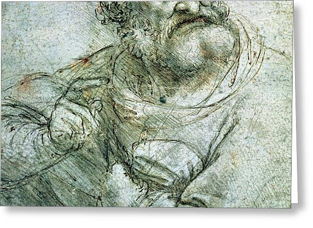 Study for an Apostle from The Last Supper Greeting Card by Leonardo da Vinci