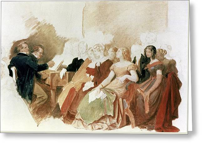 Study For An Evening At Baron Von Spauns Schubert At The Piano Among His Friends Greeting Card by Moritz Ludwig von Schwind
