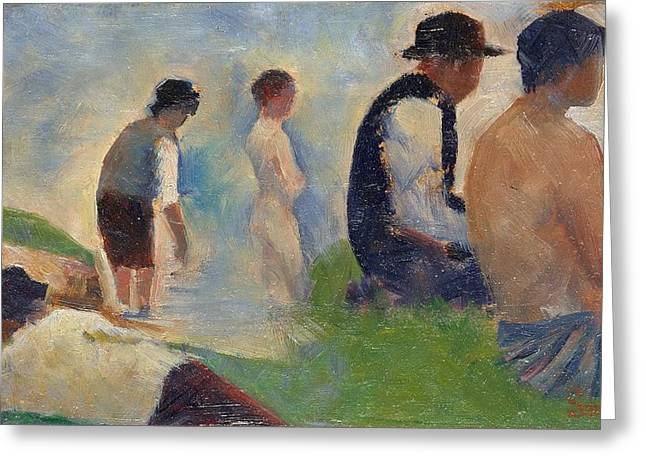 Seurat Greeting Cards - Study for Bathers at Asnieres Greeting Card by Georges Seurat