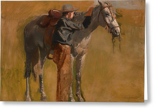 Classic Saddle Greeting Cards - Study for Cowboys in the Badlands Greeting Card by Thomas Eakins
