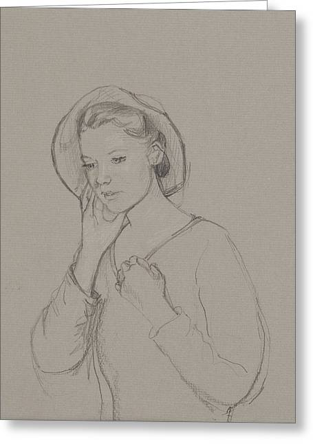 Study For Elizabeth Bennet Greeting Card by Caroline Hervey Bathurst