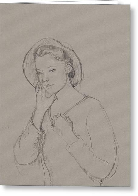 Sketch Drawings Drawings Greeting Cards - Study for Elizabeth Bennet Greeting Card by Caroline Hervey Bathurst