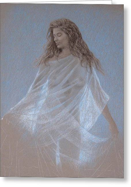 Transparent Fabric Greeting Cards - Study for Evening Greeting Card by Wes Lee
