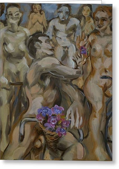 Study For Flowers On The Naked Bike Ride Greeting Card by Peregrine Roskilly
