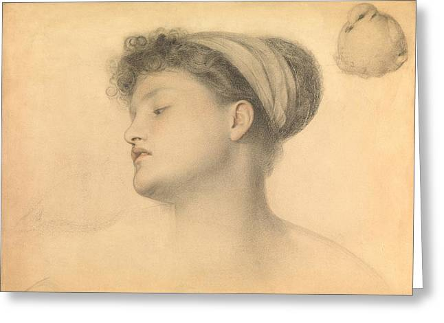 Frederick Drawings Greeting Cards - Study for Girl with Doves Greeting Card by Anthony Frederick Augustus Sandys