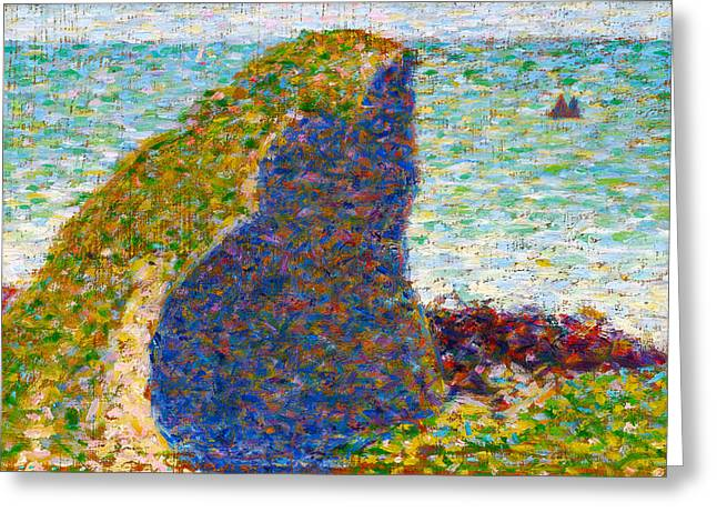 Seurat Greeting Cards - Study for Le Bec du Hoc Grandcamp Greeting Card by Georges Seurat