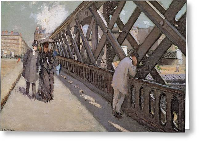 Victorian Lady Greeting Cards - Study for Le Pont de l Europe Greeting Card by Gustave Caillebotte