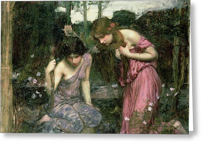 Pre-raphaelites Photographs Greeting Cards - Study For Nymphs Finding The Head Of Orpheus, C.1900 Oil On Canvas Greeting Card by John William Waterhouse