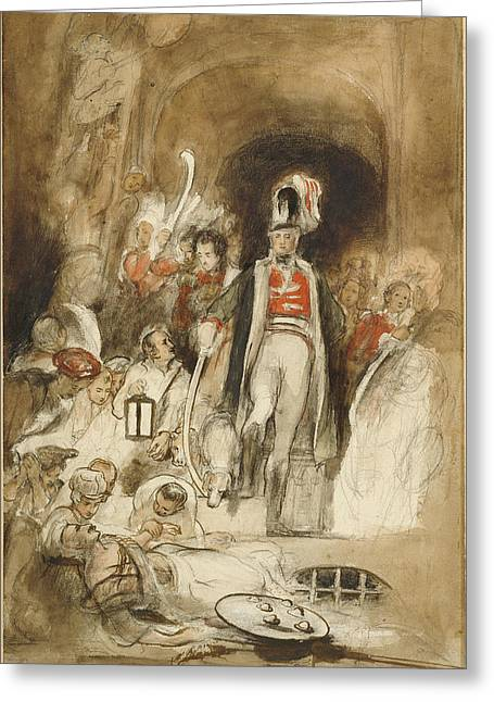Study For Sir David Baird Discovering The Body Of Tipu Greeting Card by Litz Collection