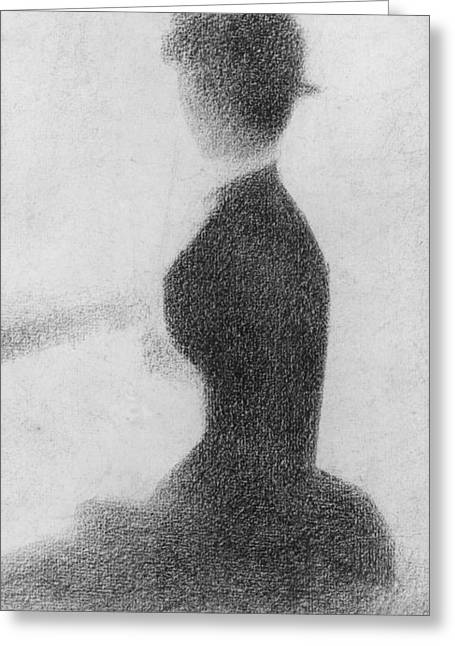 Conte Pencil Drawings Greeting Cards - Study for Sunday Afternoon on the Island of La Grande Jatte Greeting Card by Georges Pierre Seurat