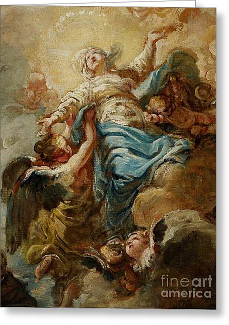 Earthly Greeting Cards - Study for the Assumption of the Virgin Greeting Card by Jean Baptiste Deshays de Colleville