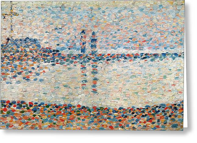 Georges Pierre Greeting Cards - Study for the Channel at Gravelines Evening Greeting Card by Georges Pierre Seurat