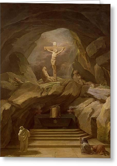 Study For The Chapelle Du Calvaire In The Eglise De Saint-roch Oil On Canvas Greeting Card by Nicolas-Bernard Lepicie
