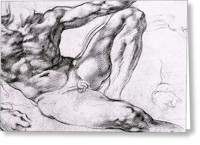 Study For The Creation Of Adam Greeting Card by Michelangelo