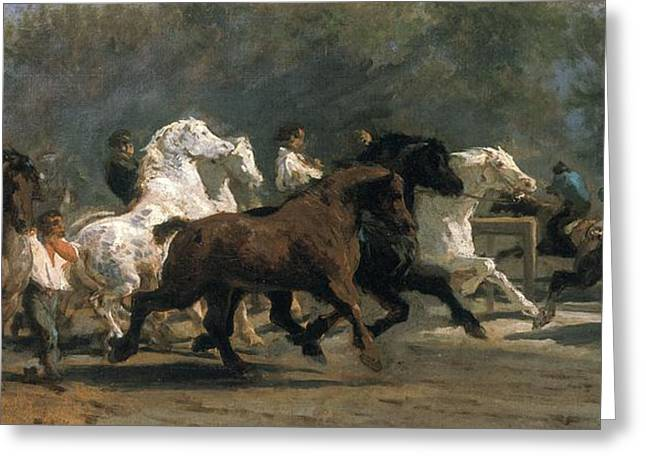 Chaotic Greeting Cards - Study For The Horsemarket, 1900 Oil On Canvas Greeting Card by Rosa Bonheur
