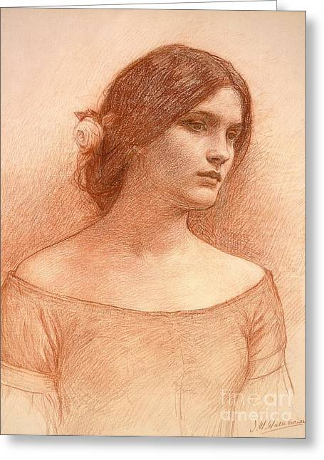 Signature Pastels Greeting Cards - Study for The Lady Clare Greeting Card by John William Waterhouse