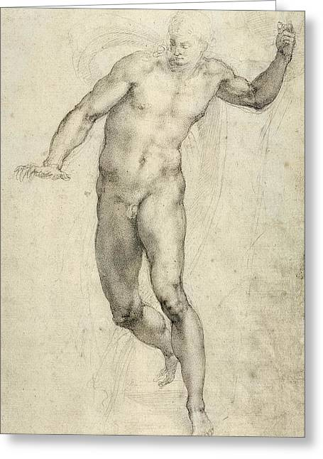 Nature Study Greeting Cards - Study for The Last Judgement  Greeting Card by Michelangelo  Buonarroti