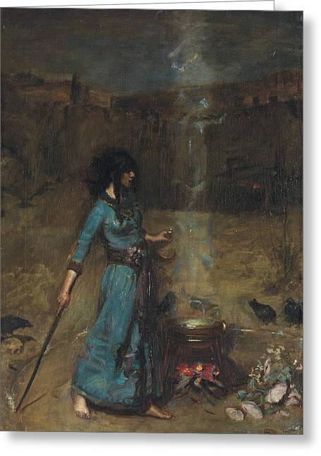 Witch Greeting Cards - Study For The Magic Circle, 1886 Oil On Canvas Greeting Card by John William Waterhouse
