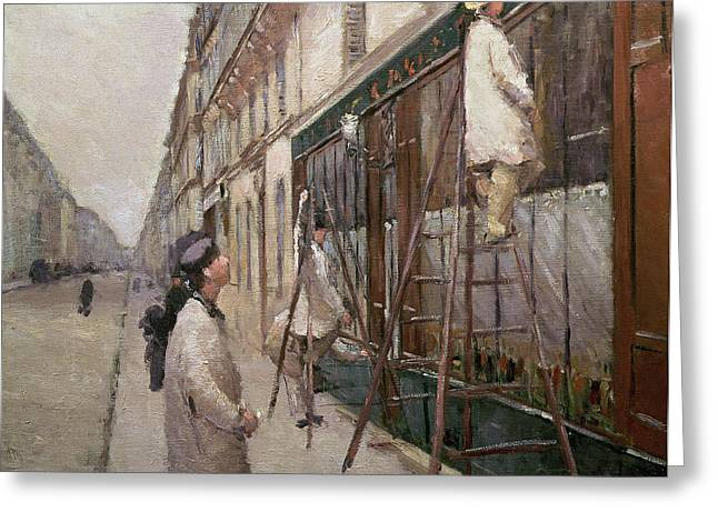 Decorators Greeting Cards - Study for The Painters Greeting Card by Gustave Caillebotte