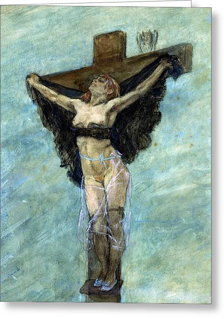 Masochism Greeting Cards - Study for The Temptation of St Anthony Greeting Card by Felicien Rops
